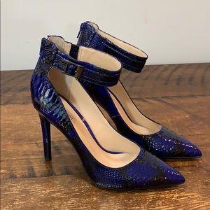 Gianni Bini Ankle Strap Snakeskin Ankle Zip Heels